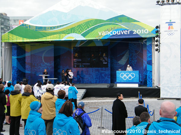 Athletes Village - Game Opening Ceremonies with Rick Hansen on stage