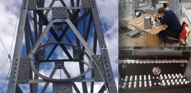 Left: Tower at Forrest Kerr Right-Top: David Mayhew on Site Right-Bottom: Corning Fibre-Optic Adapters