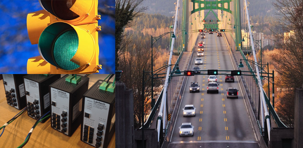 "Top-Left: Traffic Control Light Bottom-Left: LanTech Switches Designed in a ""Support Loop"" Right: North Vancouver Bridge Traffic"