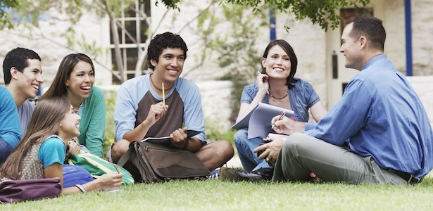 College Students Enjoying Class Outside on a Nice Day